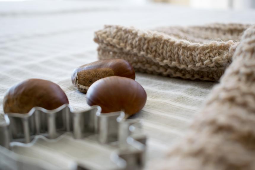Dansmabesace - Tricot - Bienvenue Isaac - Automne -Zoom mailles et marrons
