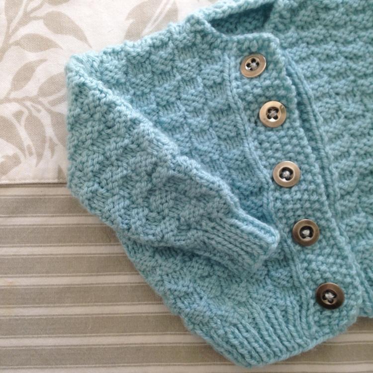 Dansmabesace - Tricot - Bienvenue Isaac - Gilet turquoise quadrillage points mousse et jersey