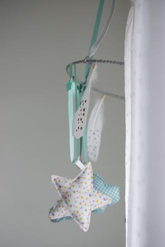Dansmabesace - Couture - Bienvenue Enoch - Mobile bebe - Zoom plume et etoile en tissu