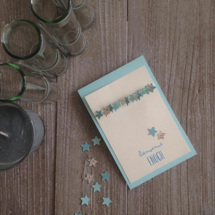 Dansmabesace - Scrap - Bienvenue Enoch - Carte de naissance etoiles bleu et ecru