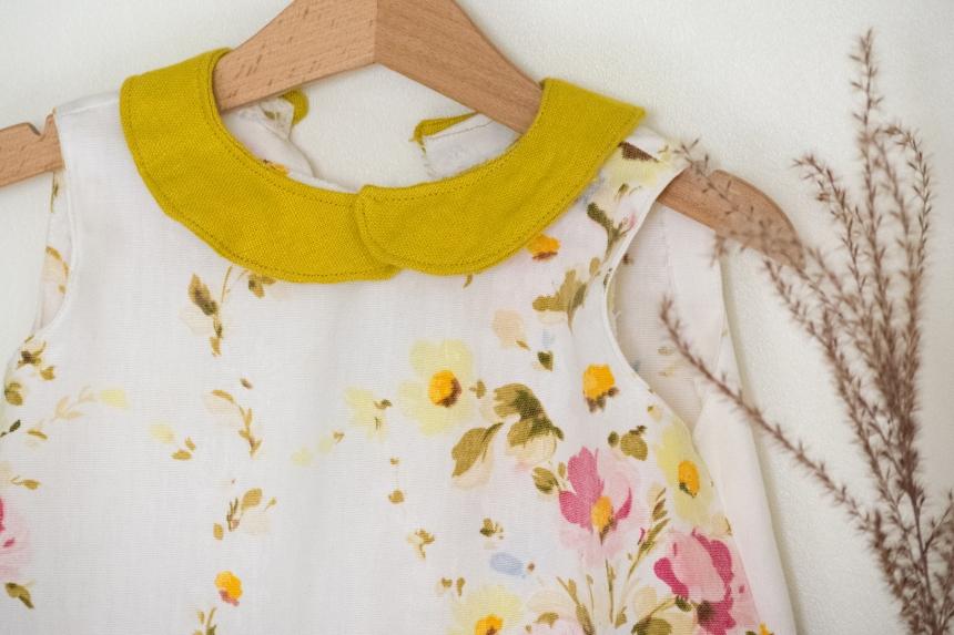 Dansmabesace - Couture - Robe à fleurs vintage - Zoom col claudine